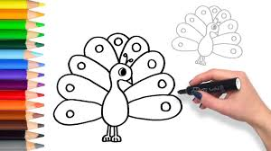 Small Picture How to Draw a Colourful Peacock Teach Drawing for Kids and