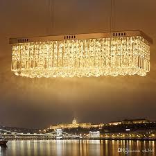 modern rectangular crystal chandeliers 60cm 80cm pendant light dining room led ceiling lamp with led bulb lights ac110 240v blue pendant lights retro