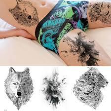 Rejaski 3d крутой король лев этнический с волком временные татуировки наклейки для