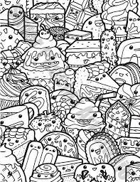 Kawaii Sweets Doodle Adult Coloring Page Printable Digital Download