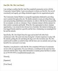 Letter Of Recommendation For Community Service Award 31 Sample Service Letters