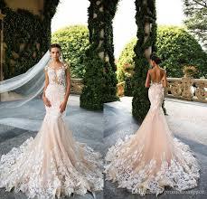milla nova 2017 designer mermaid wedding dresses illusion neck