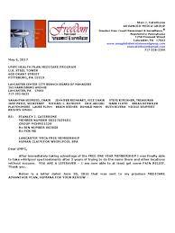 Letter To The Umpc Health Plan Medicare Program Re Lancaster Ymca