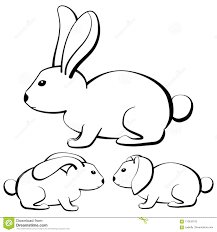 Set Of Outline Cartoon Rabbits With Different Type Of Ears Stock