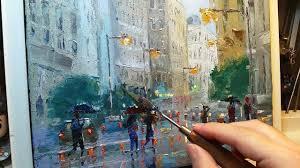 in the rain how to oil painting palette knife brush city walk wet street dusan