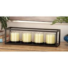 black iron and clear glass 4 pedestal rectangular candle holder 54261 the home depot