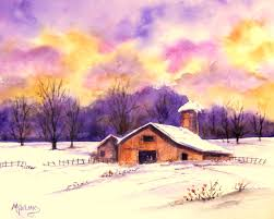 old barn and colorful sky by colorado artist martha kisling