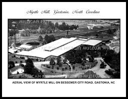 Aerial view of Myrtle Mill on Bessemer City Road, Gastonia, North Carolina  – Millican Pictorial History Museum