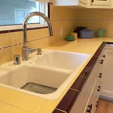 Tile Countertop Kitchen Carolyns Gorgeous 1940s Kitchen Remodel Featuring Yellow Tile