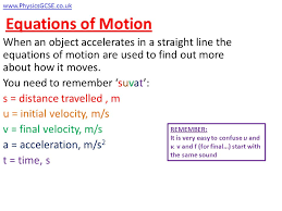 3 equations of motion when an object