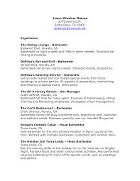 Bartending Resume Skills Resume For Study