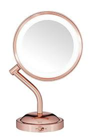 conair round shaped led double sided battery operated lighted makeup mirror 1x 5x
