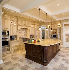 picturesque island kitchen modern. Beautiful Kitchen Design With Charming Three Hanging Lights Fixture Over Island Mixed Yellow Accents Cabinets Paint Color And Shabby Mosaic Tiles Picturesque Modern A