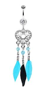 Dream Catcher Belly Button Rings Glam Heart Dream Catcher Feathered Belly Button Ring 10000 GA 100100 86