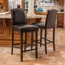 bar stool set. Amazon.com: Great Deal Furniture Auburn Bonded Leather Backed Bar Stool With Nail Head Accents (Brown) (Set Of 2): Kitchen \u0026 Dining Set