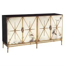 hollywood regency mirrored furniture. John-Richard Adalyn Hollywood Regency Antique Mirror Gold Black 4 Door Sideboard | Kathy Kuo Mirrored Furniture O