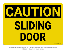 free printable sliding door caution