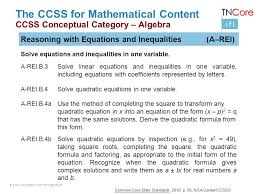 26 the ccss for mathematical content ccss conceptual algebra reasoning with equations and inequalities