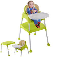 table high chair. costway green 3 in 1 baby high chair convertible table seat booster toddler feeding highchair t