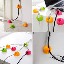 random color 10pcs cable drop clip desk tidy organiser wire cord lead usb charger cord holder organizer holder secure table