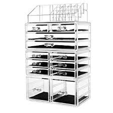 hblife acrylic makeup organiser cosmetic storage drawers make up jewelry display case with 12 drawers