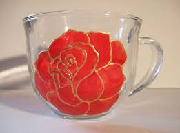 red rose painted glass coffee mug tea cup