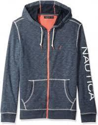 Nautica Mens Big Logo Zip Front Long Sleeve Mock Neck Sweatshirt Night Sea Heather Xx Large