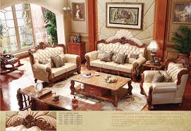 Modern Sofa For Living Room Gorgeous Turkish Brown And White Full Leather Sofa Set Solid Wood Furniture