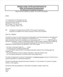 Proof Of Employment Letter Sample Verification Of Employment Letter