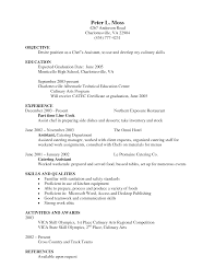 Resume Example Professional Culinary Resume Templates Entry Level