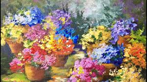 pots of flowers a beginner acrylic painting tutorial by ginger cook