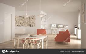 Nordischen Minimalistische Offenen Wohnbereich Mit Esstisch Sofa