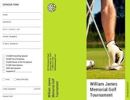 Green Photo Golf Tournament Sponsorship Form Trifold Brochure ...