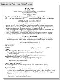 International Format Resume International Curriculum Vitae Resume Format For Overseas