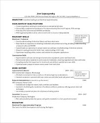 Sample Of Electrician Resumes Sample Electrician Resume 9 Examples In Word Pdf