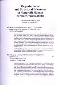 Pdf The Role Of Nonprofit Human Service Organizations In
