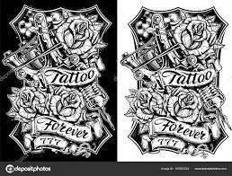 графические черно белые татуировки и розы векторное изображение