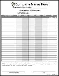 Attendance List Form Attendance List Form Rome Fontanacountryinn Com