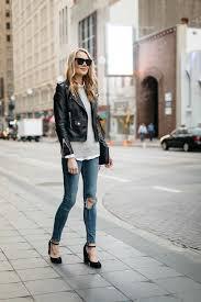 fashionjackson blogger jacket sweater shirt jeans shoes bag sunglasses black leather jacket pumps grey sweater