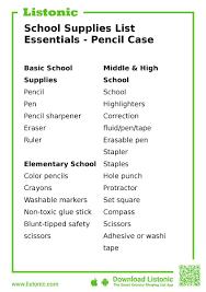 School Supplies List Template School Supplies List Essentials Pencil Case Listonic