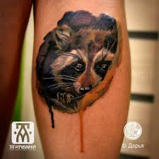 акварельный тату енот по авторскому эскизу в новосибирске метла тату