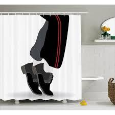 Michael Jackson Decor Shower Curtain, Moonwalk of Music Idol Iconic Star Illustration,