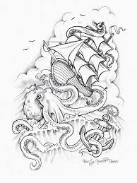 Small Picture Octopus Sinking Ship Tattoo Design by kirstynoelledavies on