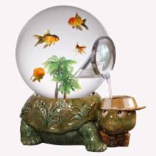 Turtle Tank Decor Creative Idea Unique Globe Fish Tank With Green Turtle Decor 12