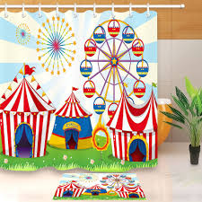 details about circus lawn carnival shower curtain waterproof fabric home decor bath mat hooks