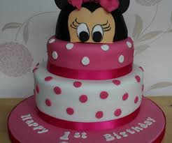 Neat Minnie Mouse Birthday Cake For Minnie Mouse Rosette Cake Along