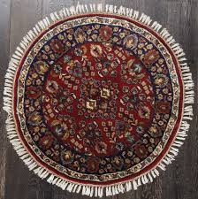 rugsville red persian tabriz round blue wool oriental rug 3 x with rugs plans 15