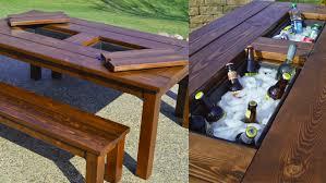 Diy patio table Simple Diy Cozy Home Diy Patio Table With Builtin Drink Cooler
