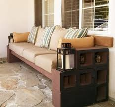 cinderblock furniture. DIY-cinder-block-bench-ideas-garden-furniture-brown- Cinderblock Furniture