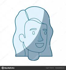 ウェーブのかかった髪型で女顔の青いシルエット色目 ストックベクター